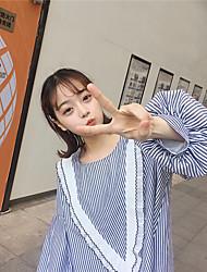 подписать новый западный стиль супер хорошее износа Сеульской институт ветра свежий фонарь рукав вертикальной полосатой рубашке