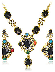 Jewelry Set Gemstone Resin Rhinestone Gold Plated Simulated Diamond Alloy Vintage Bohemian Square Black Green Jewelry setParty Special