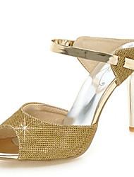 Women's Sandals Summer Club Shoes Novelty Glitter Customized Materials Wedding Party & Evening Dress Stiletto Heel Split Joint Silver Gold