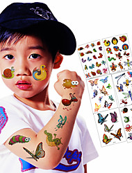 6 Sheets / Lot Kid Lovely Temporary Tattoo Stickers Child Kid Cartoon Tattoo Animal Butterfly Letter