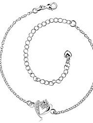 Bracelet de cheville/Bracelet Zircon Plaqué argent Alliage Amitié Mode Vintage Bohême Style Punk Hip-Hop Turc Simple Style Forme de Coeur