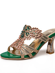 Women's Sandals Spring Summer Fall Synthetic Dress Casual Party & Evening Chunky Heel Rhinestone Flower Gold Green