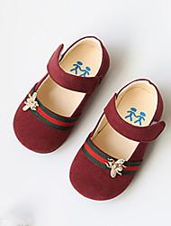 Extérieure Habillé Décontracté-Bleu Marron Rouge-Talon Bas-Confort Flower Girl Chaussures-Ballerines-Similicuir