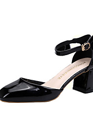 Для женщин Обувь на каблуках С Т-образной перепонкой Полиуретан Лето Повседневные С Т-образной перепонкой ШнуровкаНа толстом каблуке