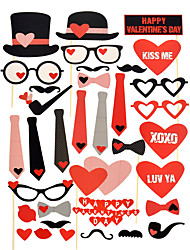 Valentines Day Birthday Photo Booth Party Props Mustache on Stick Heart Angel (Include Stick & Booth) Hard Card Paper Wedding Decorations-33Piece/Set