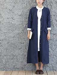 Manteau Femme,Couleur Pleine Sortie simple Manche Longues Col châle Repasser à l'envers Coton Long Printemps Hiver