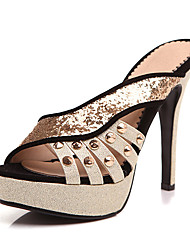 Slippers & Flip-Flops-Kleid Lässig-Kunststoff-Stöckelabsatz-Andere-Schwarz Rot