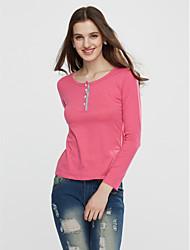 Damen Solide Einfach / Street Schick Lässig/Alltäglich T-shirt,Rundhalsausschnitt Sommer Kurzarm Rot / Grün / Lila Baumwolle Dünn