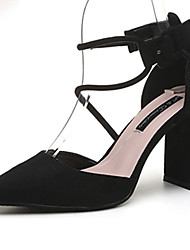 Women's Sandals Summer Gladiator T-Strap Suede Office & Career Party & Evening Dress Casual Chunky Heel Others Black Light Grey