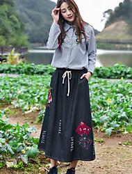 Sign retro national wind by Duo Laxia spring appliqué skirt waist skirt denim skirt a word