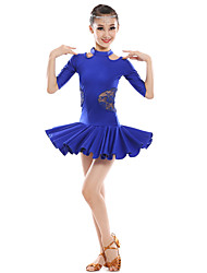Latin Dance Dresses Children's Performance Lace Milk Fiber Lace Splicing 1 Piece Half Sleeve Natural Dance Costume Blue/Fuchsia/White
