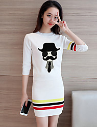 знак Опрятный моды трикотажные костюмы мультфильма рукав вязать рубашку юбка кусок