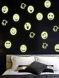 Cartoon Smiling Face  Luminous Wall Stickers Vinyl Material Home Decoration