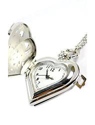 Unissex Relógio de Bolso Quartzo Gravação Oca Lega Banda Brilhante Prata
