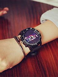 Unisex Fashion Watch Quartz Silicone Band Charm Casual Black
