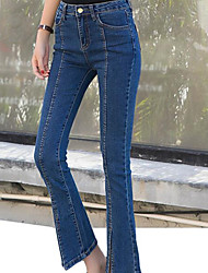 Sign Korean version of the 2016 autumn new high waist flared trousers Slim was thin denim trousers female 251 133