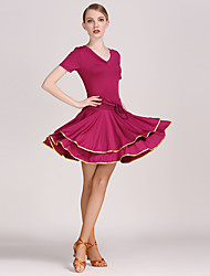 A Drawstring Latin Dance Dress Clothes Silk Milk Quality