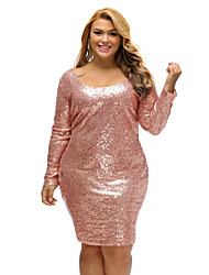 Women's Sequin Champagne Sequin Plus Size Long Sleeve Dress