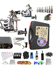 Complete Tattoo Kit G2A4A6 2 machines liner & shader Lion LED power supply Ink Cups