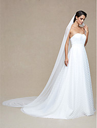 Wedding Veil One-tier Cathedral Veils Pencil Edge Dot Net