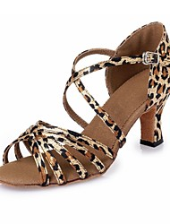 Women's Dance Shoes Latin shoes Leopard satin CL46