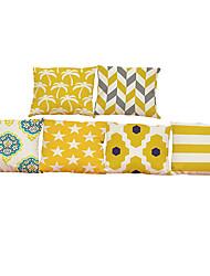 Set of 6 Simple geometric pattern Linen Pillowcase Sofa Home Decor Cushion Cover