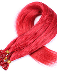 #Red New Arrival U Tip Human Hair Extensions Red Virgin Hair No Shedding Brazilian Virgin Straight Hair