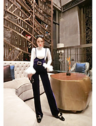 2017 manches haut-parleur plume Qiushi battement d'autruche coutures mince chemise + sangle velours Pantalon large costume