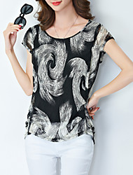 Women's Plus Size Casual/Daily Simple Summer Blouse,Print Round Neck Short Sleeve Black Polyester Thin