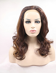 Sylvia Synthetic Lace Front Wig Brown With Blonde Highlighted Natural Wave Heat Resistant Synthetic Wigs