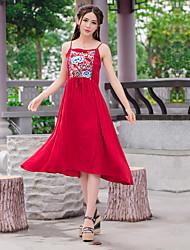 Vestido longo do algodão do bordado do vento nacional 2016 novo do verão