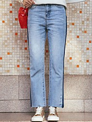 Sign taste Korean retro casual wash water mill white fringe straight skinny jeans mixed colors hit color trousers