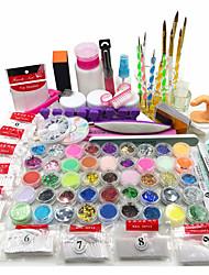polvo de acrílico kit del arte del clavo del brillo ultravioleta líquido conjunto consejos de pegamento en gel cepillo