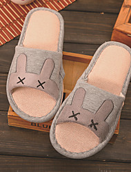 Cute Cartoon Rabbit Flax Slippers