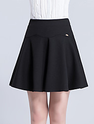 Women's A Line Solid Pleated Skirts,Casual/Daily Work Simple Cute High Rise Above Knee Elasticity Cotton Micro-elastic Summer