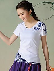 neue Frauen&# 39; s nationale Wind Stickerei Kurzarm Baumwolle T-Shirt mit wilden durchbrochene Spitze