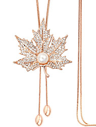 Necklace Pendant Necklaces Jewelry Casual Maple Leaf Fashion Alloy Rhinestone Women 1pc Gift Gold Silver