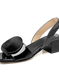 Damen-Sandalen-Kleid-Kunstleder-Blockabsatz-paar Schuhe