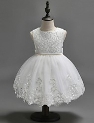 Ball Gown Knee-length Flower Girl Dress - Organza Jewel with Beading Sequins