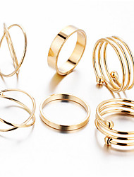 6PCS Ring Wedding Special Occasion Daily Casual Sports Jewelry Alloy Midi Rings 1set6 7 8 Gold
