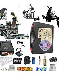 Kit completo para tatuaje   2 x máquina de tatuaje de acero para línea y sombreado Una aleación x tatuaje máquina para revestimiento y