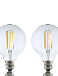 6W E26/E27 LED žárovky s vláknem G95 4 COB 600 lm Teplá bílá Stmívací AC 220-240 V 2 ks