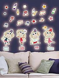 Cartoon Cute Monkeys Luminous Wall Stickers Vinyl Material Home Decoration