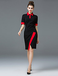 ZIYI Formal Simple Sheath DressSolid Split Shirt Collar Knee-length Short Sleeve Cotton Polyester Spandex Black Spring Summer Mid Rise