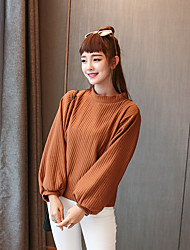 Sign Korea autumn new wild basic models solid color shirt pit strip was thin loose bat sleeve sweater