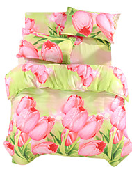 3D (Zufallsmuster) Bettbezug-Sets 4 Stück Polyester 3D Reaktivdruck Polyester ca. 1,50 m breites Doppelbett1 Stk. Bettdeckenbezug 2 Stk.