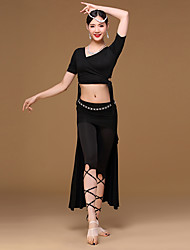 Belly Dance Outfits Women Women's dancewear Girl Training Milk Fiber Modal Crystals/Rhinestones 4 Pieces Short Sleeve DroppedTop Coat