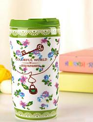 Colored To-Go Drinkware, 400 ml Simple Geometric Pattern Ceramic Coffee Milk Daily Drinkware