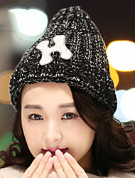 Women Winter Stretch H Letter Printing Knitting Warm Mixed Wool Peaked Cap