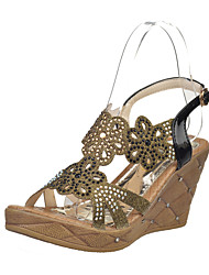 Sandals Summer Comfort PU Office & Career Casual Wedge Heel Rhinestone Applique Black Gold